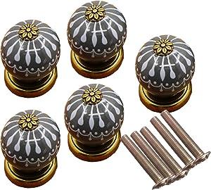Ceramic Cabinet knob Handle Grey knob Furniture Handle for Home Decor Drawer Handle (5PCS)
