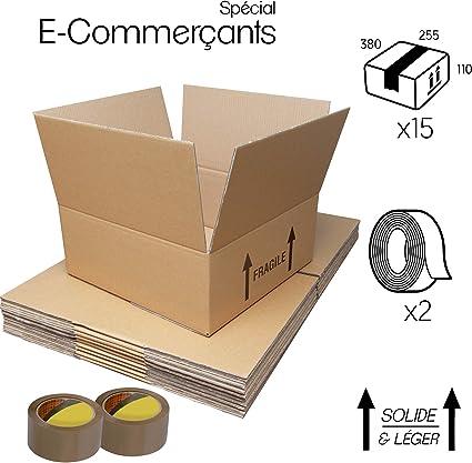 Paquete de 15 cajas de carton – Paquetes de envío para comercio - caja almacenaje alta calidad + 2 cintas adhesivas ofertas (Simple ondulación, 380x255x110): Amazon.es: Oficina y papelería