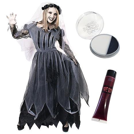Ilovefancydress - Kit per Halloween con abito da sposa zombie fantasma 0a696687875e