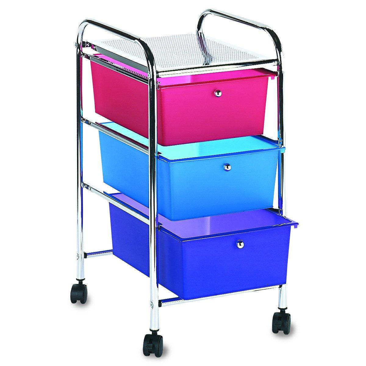 Advantus Cropper Hopper Home Center Rolling Cart, 3 Drawer Multi Vertiflex Products 34081