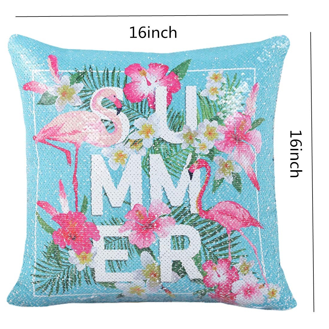 ROOSSI Mermaid Sequin Flamingos Decorative Pillow Cover 16inch Square Bling Cushion Cover Home Sofa Car Pillowcase Blue 2