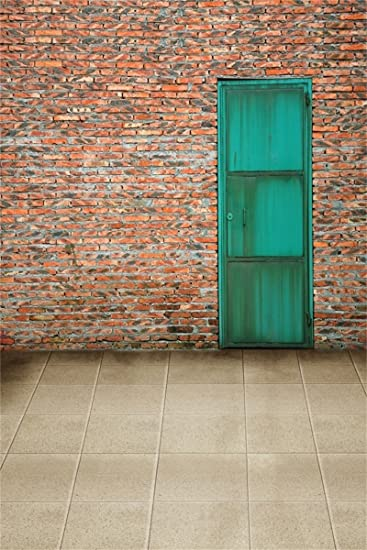 AOFOTO 6x8ft Adult Photo Shoot Background Girl Photography Studio Backdrop Brick Wall Green Door Floor Tile