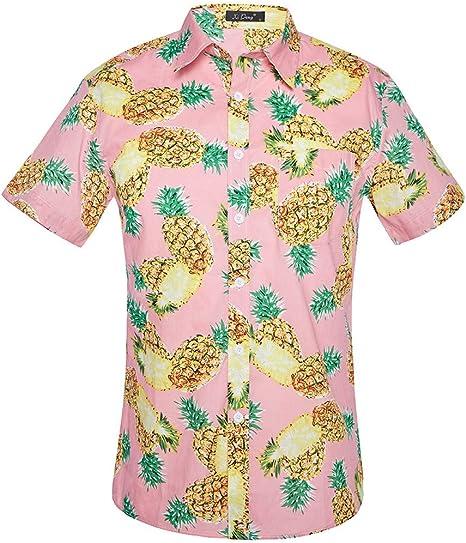 Kingko - Camisa Hawaiana de Manga Corta para Hombre, diseño de piña de Frutas, Playa, Fiesta, Casual, Playa, Verano, Rosa, Extra-Large: Amazon.es: Deportes y aire libre