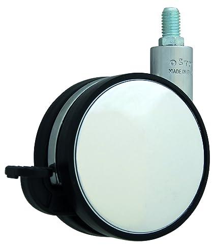 HSI Diseño de Ruedas para muebles (con freno y lápiz M10 zamak, cromo/