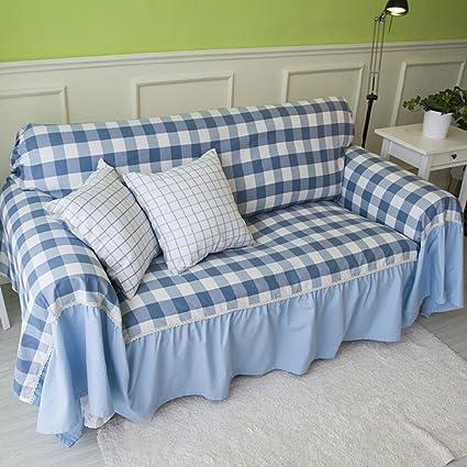 DHWJ Sofa Towel Sofa Cloth Cotton Plaid Sofa Towel A 360x180cm(142x71inch)