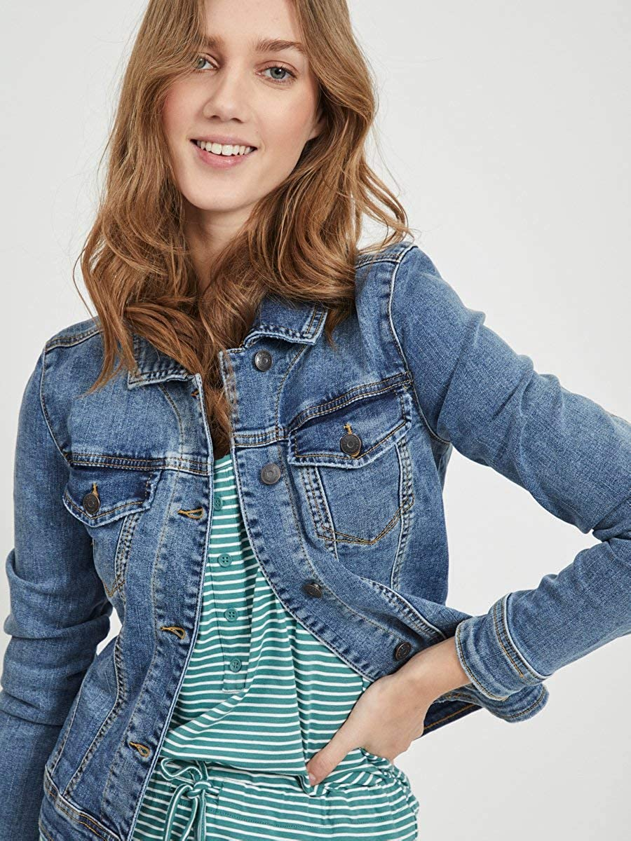 Object Objwin New Denim Jacket Noos Giacca in Jeans Donna Blu (Medium Blue Denim)