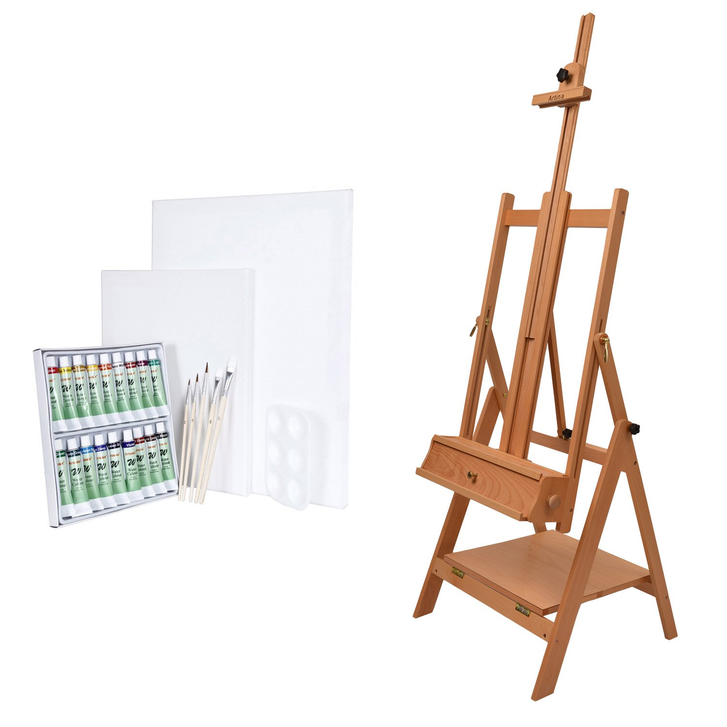 Artina Studio Easel Napoli - Beech-Wood - Artist Easel for Horizontal Painting and Display - 54x180cm (LxW) 51023
