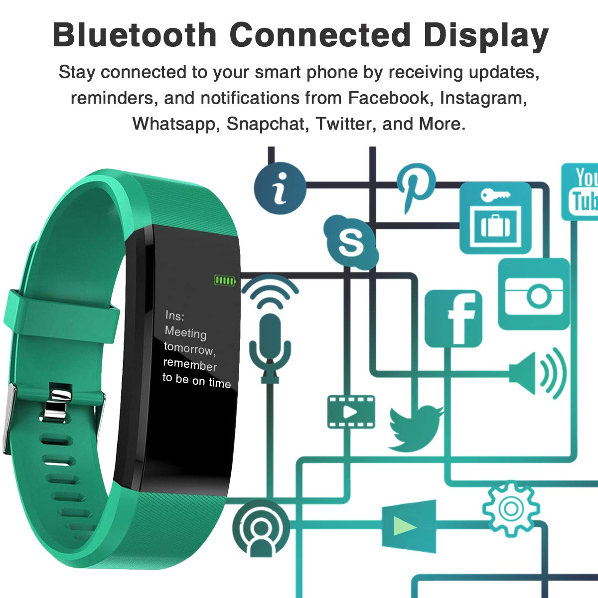 Burn-Rate Fitness Tracker Heart Rate Monitor - Smart Watches for Women & Men, Kids Color Smart Watch Fit Bracelet. Reloj Inteligente band Pedometer, Waterproof, Distance Activity bit for Android & iOS by Burn-Rate Fitness 115plus (Image #6)