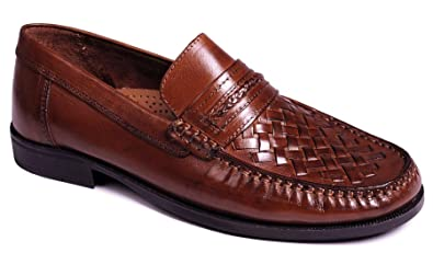 bf058272f16 Catesby Mens Leather Interwoven Moccasin Wedding Slip On Dress Formal Shoes  Size 7-12 -
