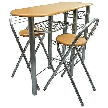 vidaXL Küchenbar mit 2 Stühlen Küchentisch Bistro Tisch Holz ...