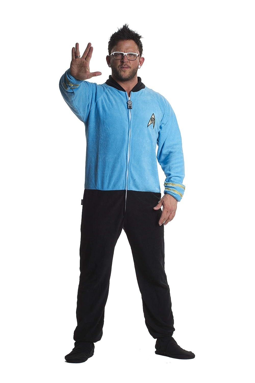 Jumpin Jammerz Star Trek Footed Onesie Adult Pajamas Science Blue