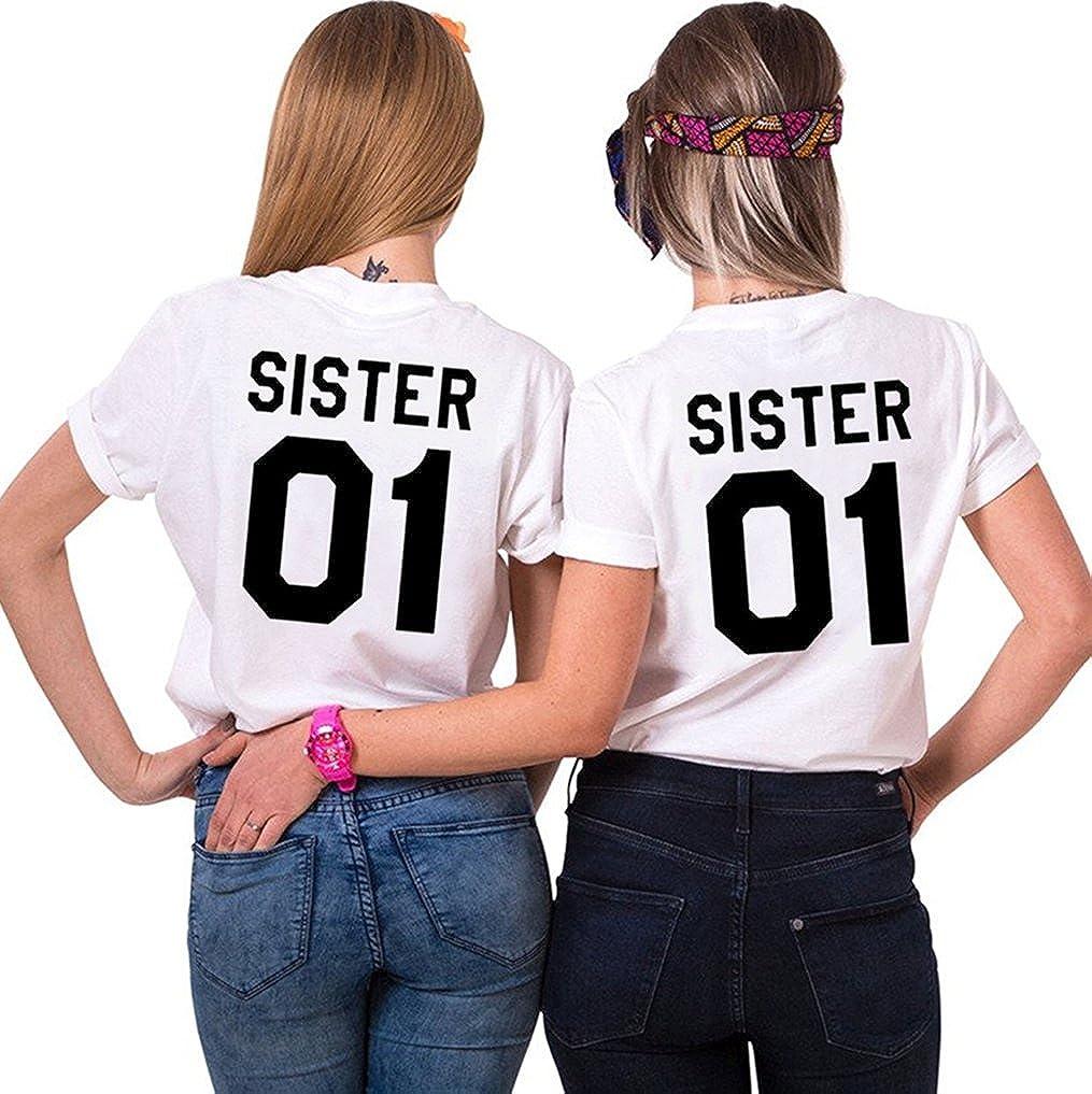JWBBU Best Friends Sister T-Shirt mit Aufdruck Halb-Herz für Zwei Damen Mädchen BFF Sommer Weiß Schwarz Geburtstagsgeschenk 2 Stücke Tops TU-1ZGL-D8IR
