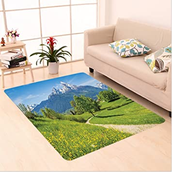 nalahome Custom alfombra o primavera paisaje en Alpes con flores hierba y Tops de montañas nevadas