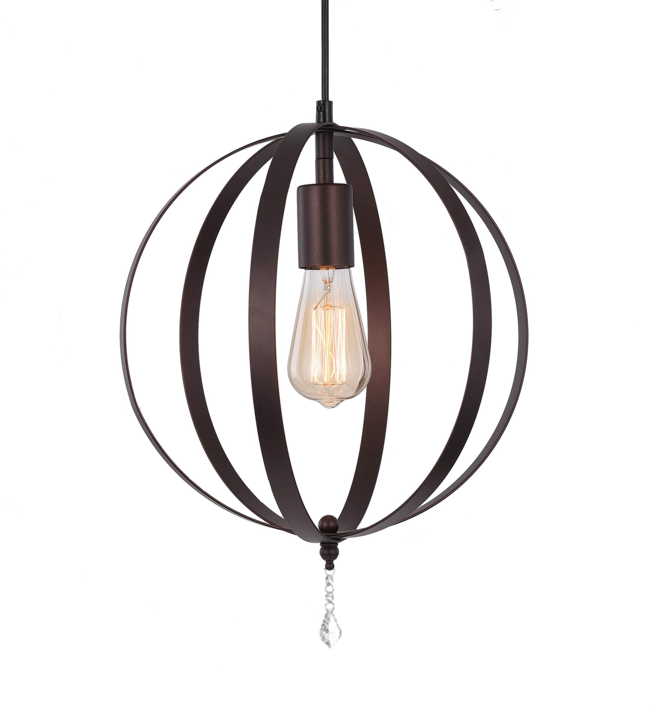 Industrial Vintage Metal Pendant Light, Hebolen Globe Hanging Light Fixture with Plug in and On/Off Switch for Kitchen Island Bedroom Hallway Dining Room Table Farmhouse(Coffee Gold)