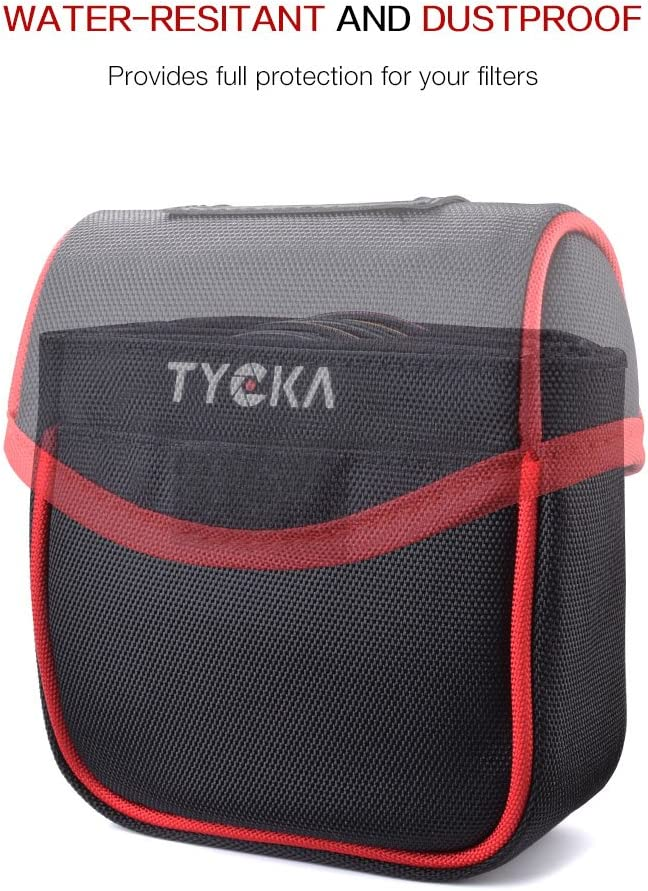 Black Belt Style Design Filter Pouch Tycka Field Filters Case for Round Filters Up to 86mm Removable Inner Lining and Water-Resistant and Dustproof Design