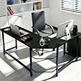 Tribesigns Modern L-Shaped Desk Corner Computer Desk PC Latop Study Table Workstation Home Office Wood & Metal, Black