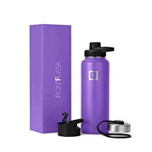 IRON °FLASK Sports Water Bottle - 14oz, 18oz, 22oz, 32oz, 40oz,or 64oz, 3 Lids (Spout Lid), Vacuum Insulated Stainless Steel, Hot Cold, Modern Double Walled, Simple Thermo Mug, Hydro Metal Canteen