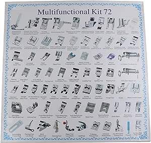 Oumij1 M/áquina de Coser Prensatelas Accesorios de Costura Multifuncionales Ideal para Uso Dom/éstico de M/áquinas de Coser 72Pcs M/áquina de Coser Dom/éstica Presser Press Foot Kit