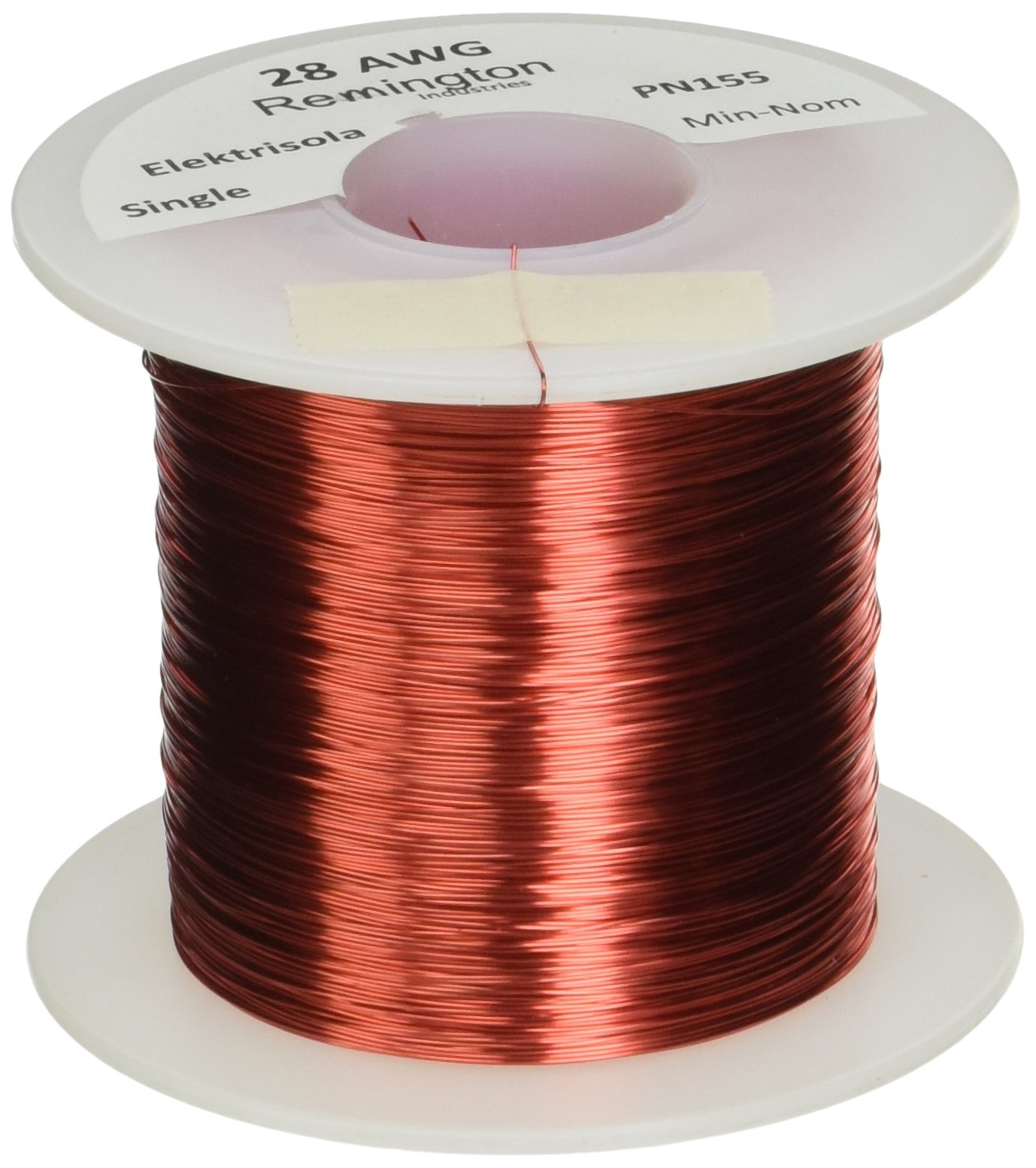 Remington Industries 28SNSP Magnet Wire, Enameled Copper Wire, 28 AWG, 1.0 lb, 2027' Length, 0.0135'' Diameter, Red