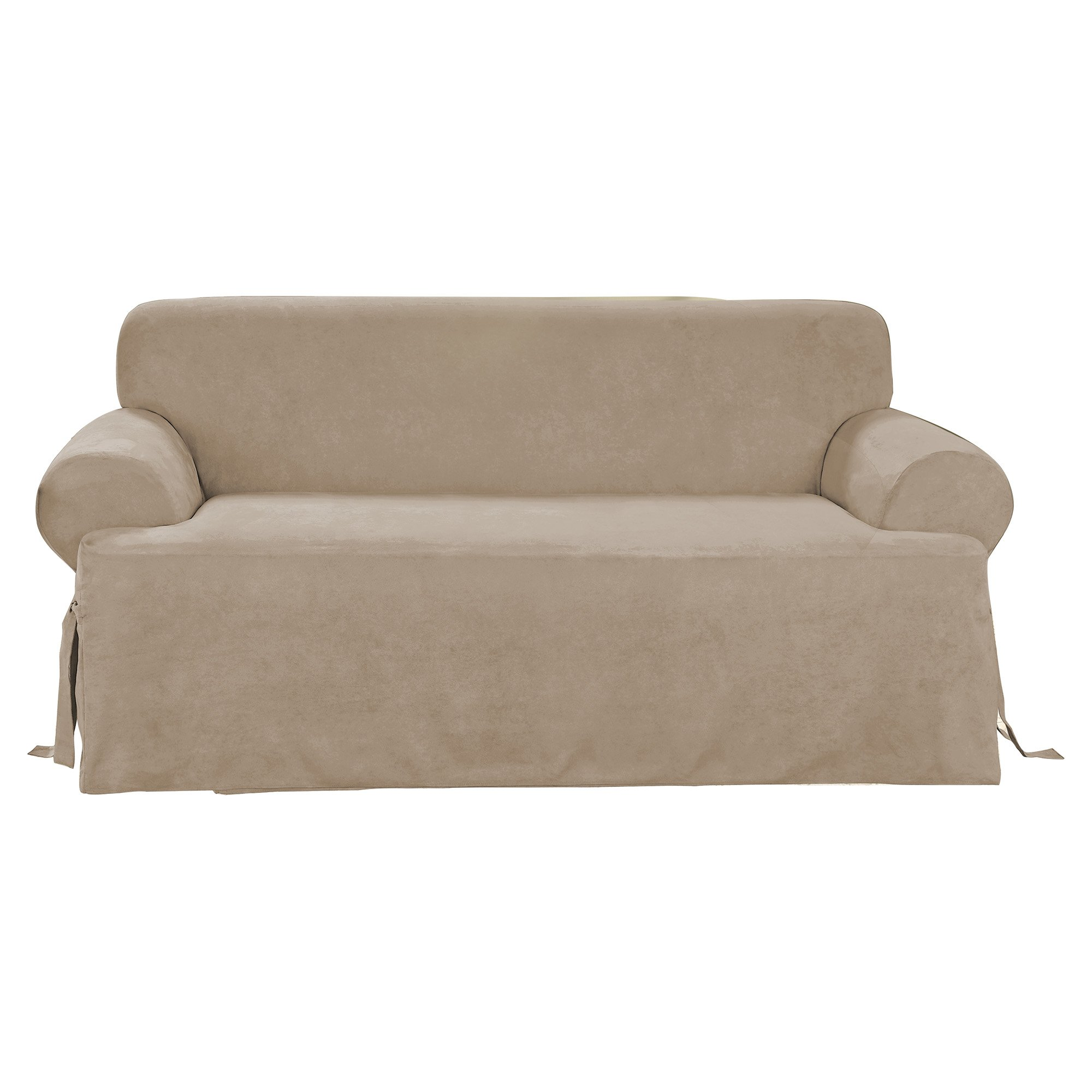 Sure Fit Soft Suede T-Cushion - Sofa Slipcover - Taupe (SF38650) by Surefit