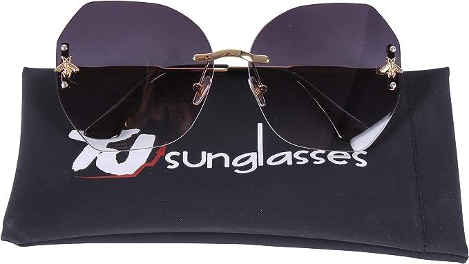 9e4f90058f TJsunglasses Octagonal Eyebrow Rimless Fashion Butterfly Women Sunglasses  (gold