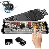 Specchietto Retrovisore Con Telecamera,10 pollici Touchscreen Full HD 1080P Grandangolare con Sistema di Monitoraggio Inverso e Monitor di Parcheggio regalo con scheda 32GB e lettore di schede