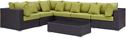 Modway Convene Collection 7-Piece Outdoor Patio Sectional Set in Expresso Peridot