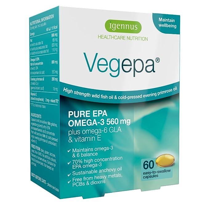 Vegepa Suplemento de Omega-3-6, 800mg de Aceite de Pescado Salvaje y Aceite de Onagra Virgen, 560mg de Omega-3 EPA por porción, 60 cápsulas