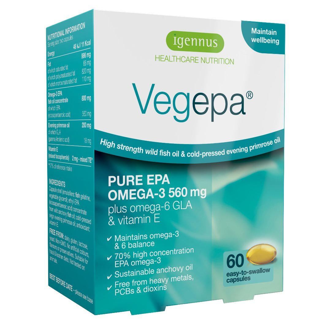 10 PACK Vegepa Omega-3-6 Supplement, 800mg Wild Fish Oil with Virgin Evening Primrose Oil, 560mg Omega-3 EPA with GLA for Balanced Omega-3-6 Intake, GMP Manufactured, 10x60 Softgels