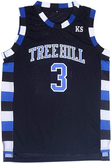 TUEIKGU Mens Lucas Scott 3 Ravens Basketball Jersey Stitched Sports Movie Jersey Black/White/Blue