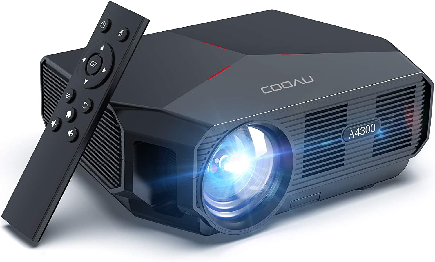 "Projector, COOAU 5500 Lumens Home Video Projector, Support 1080P and 200"" Screen Playing with Hi-Fi Speakers, Compatible with TV Stick/Phone/Laptop/DVD Player /PS4"