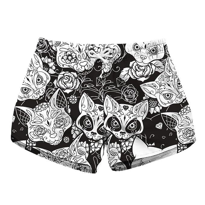 3993e3b7b6 Dreamskull Womens Sugar Skull Summer Beach Shorts Swimsuits Board Shorts at Amazon  Women's Clothing store: