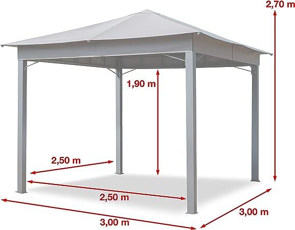 TOOLPORT Cenador de jardín 3x3m 180g/m² Lona de Techo pabellón Impermeable 4 Lados Carpa de Fiesta Gris Claro Perfil 6x6cm: Amazon.es: Jardín