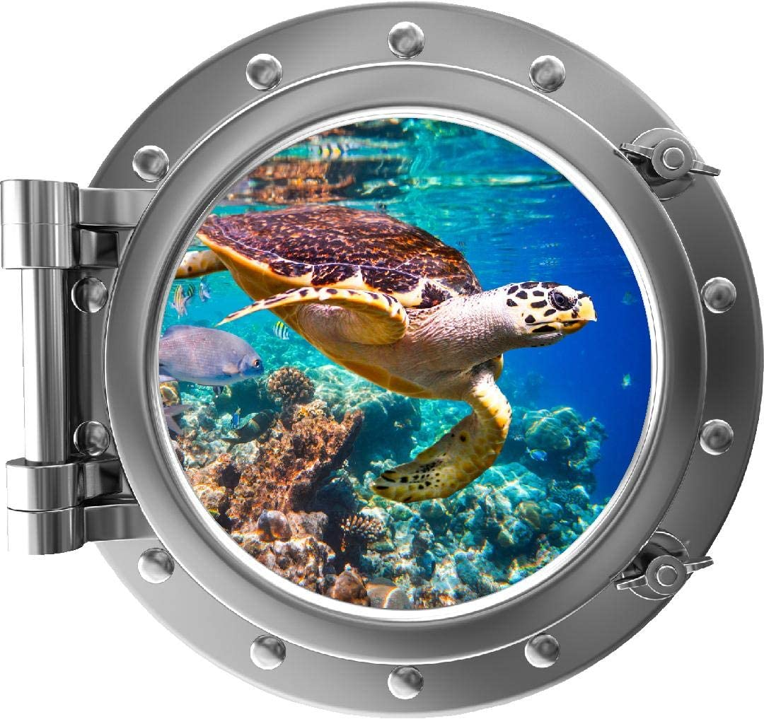 decalmile 2 Pcs 3D Porthole Under The Sea Wall Decals Turtle Dolphin Wall Stickers Baby Nursery Kids Bedroom Bathroom Wall Decor Diameter: 17 Inches