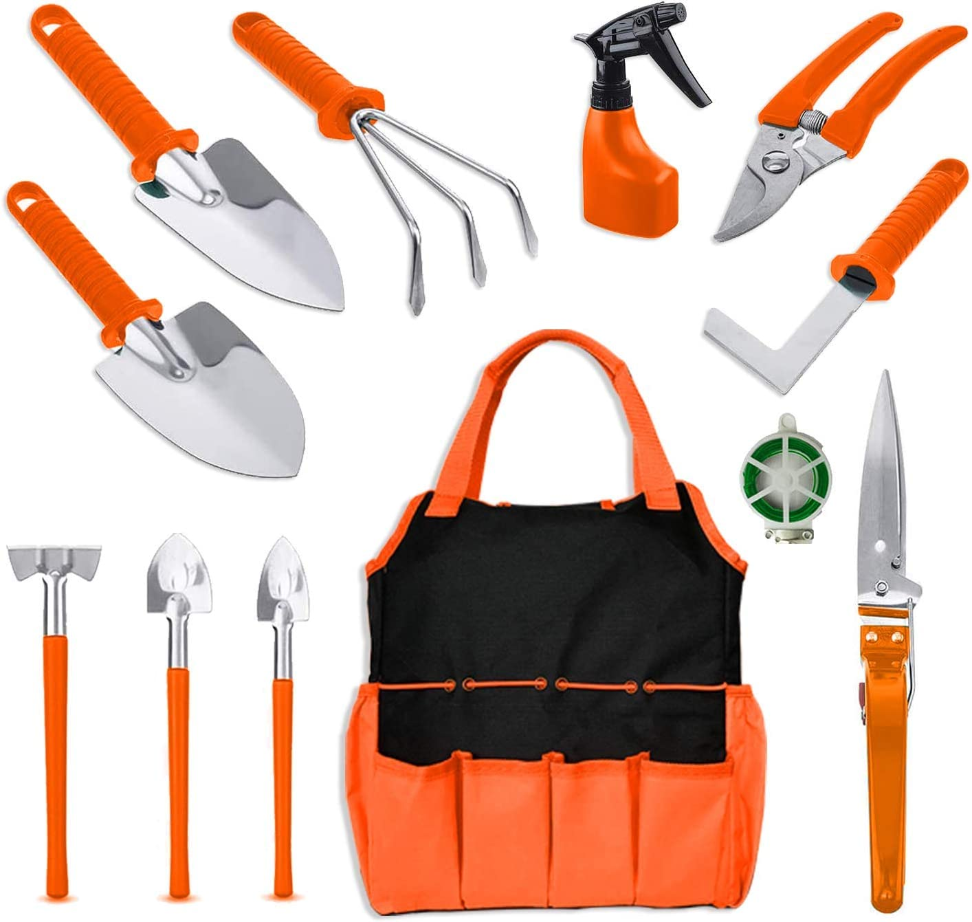BNCHI 12 Pieces Stainless Steel Gardening Tools Set, Gardening Gifts for Women,Men,Gardener (Orange)