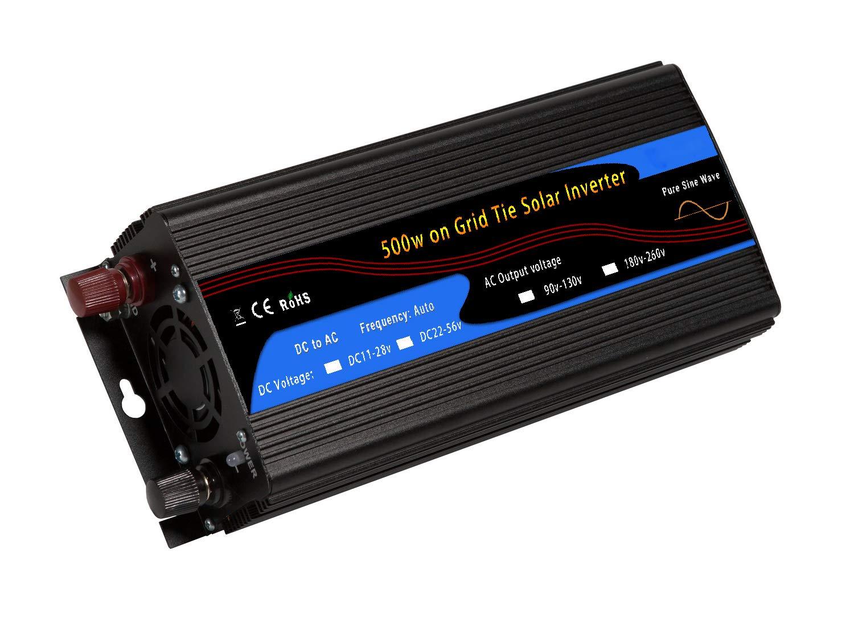 Y&J 500w On Grid Tie Solar Inverter Pure Sine Wave DC11-28v to AC90-130v for 12v Solar System USA Plug