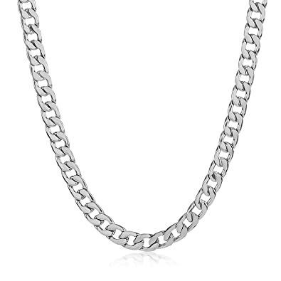 The Bling Factory Durable Stainless Steel 3mm Cuban Curb Link Chain Necklace + Microfiber Jewelry Polishing Cloth ThG5OGKJN