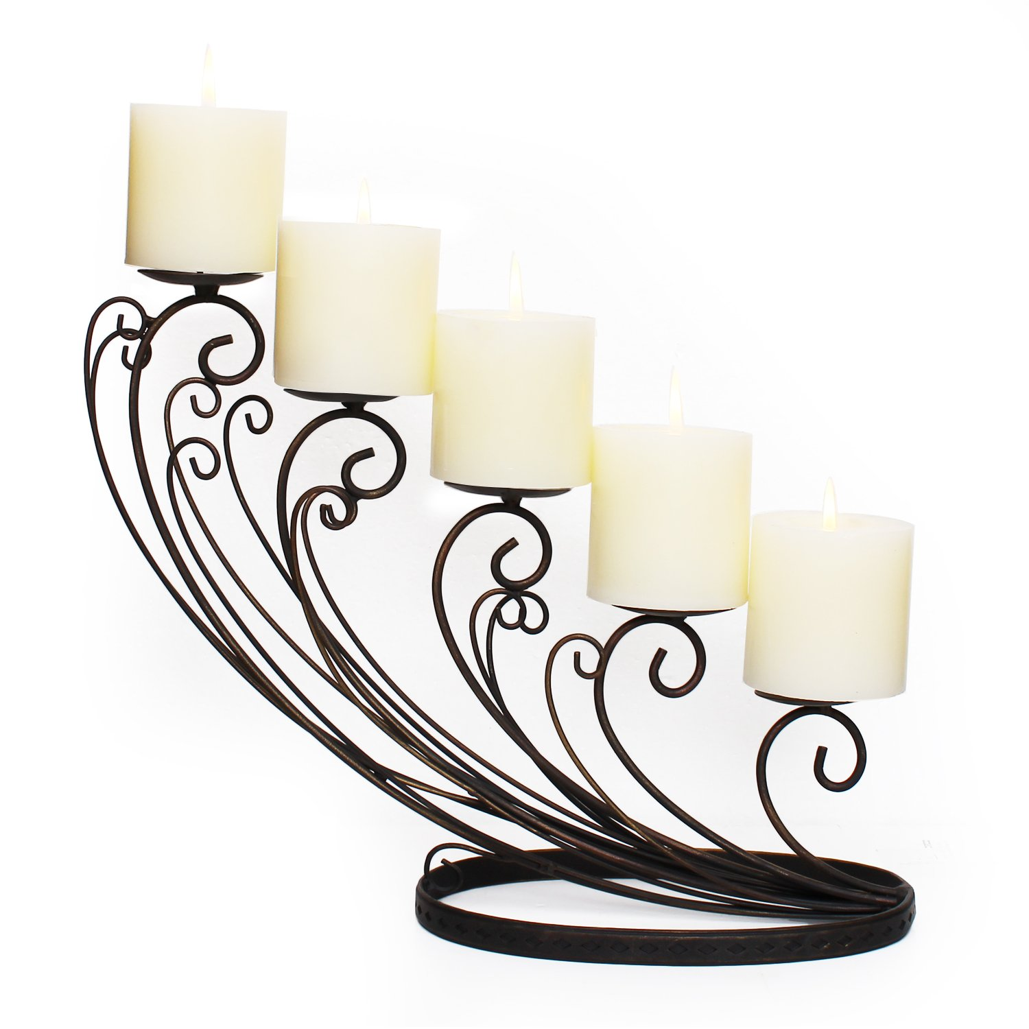 Homebeez Decorative Iron Table Candle Holder (Holds 5 Pillar Candles) Black with Antique Finish