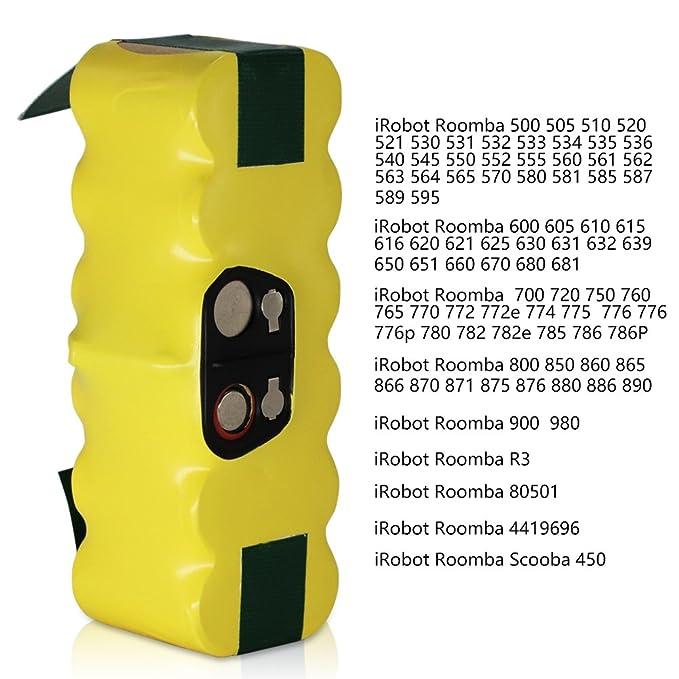GPISEN 3800mAh Batería de repuesto con 1 cepillo lateral para iRobot Roomba 500 600 700 Series: Amazon.es: Hogar