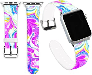 iWatch Bands 44mm,Jolook Soft Leather Sport Style Replacement Strap for Apple Watch 44mm 42mm Series 6,5,4,3,2,1Colorful Marble Bands