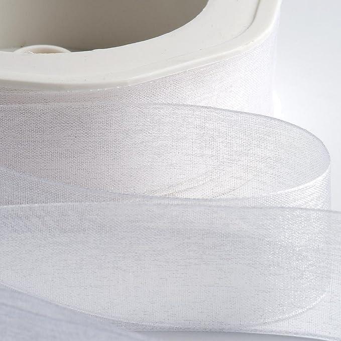 Organza Woven Edge Ribbon 15mmx20m White