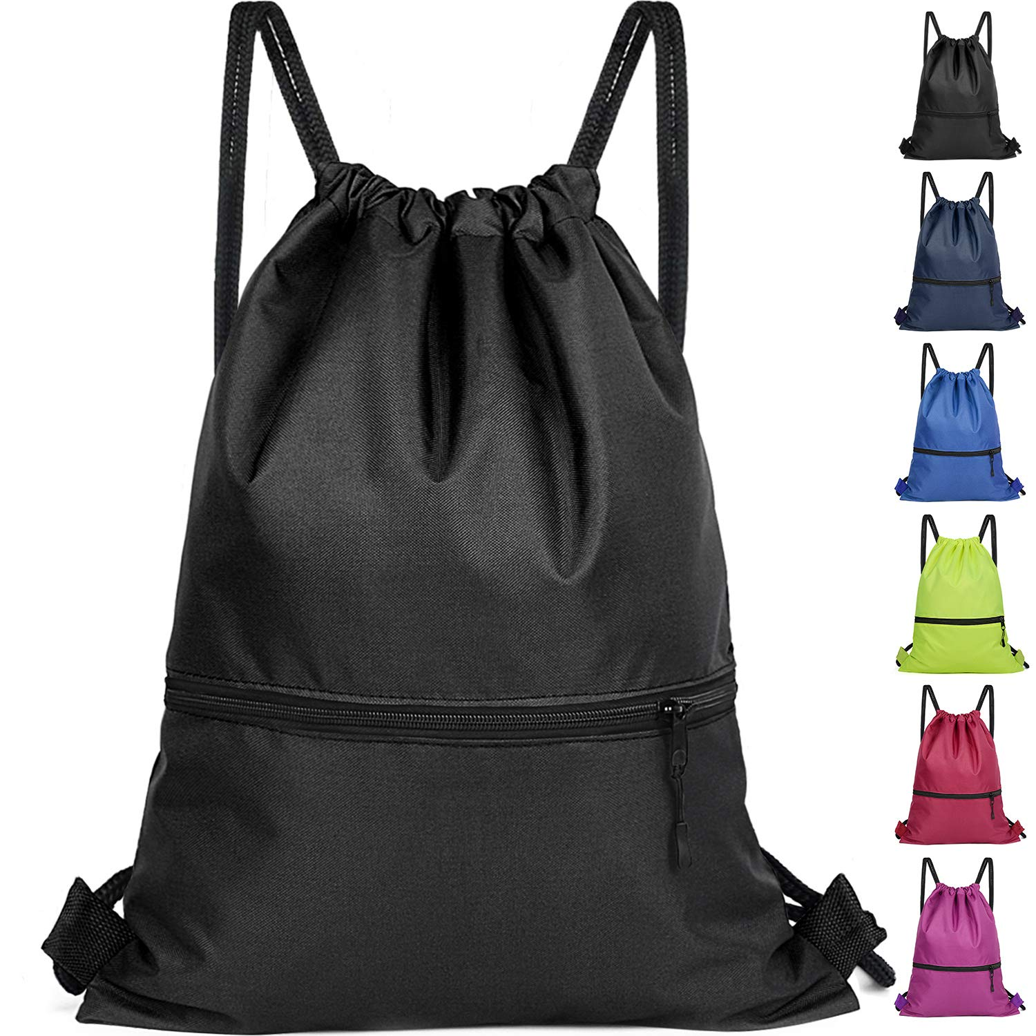 Drawstring Backpack Bag - Gym Sackpack Cinch Bags for Men and Women - Large Size with Two Great Zipper Pockets for Gym, Yoga, Travel, Hiking, Beach Bags - Black