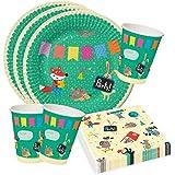 Party Set per feste o party, colorato, divertente, con animali; piatti, bicchieri e tovaglioli per la festa di compleanno dei bambini, 36 pezzi