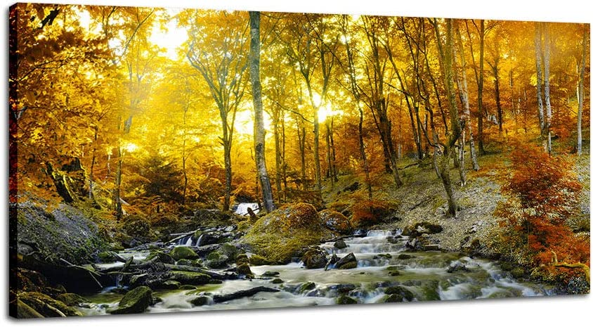 Amazon Com Dingdong Art Autumn Forest River Canvas Prints Stretched And Framed Wall Art Landscape Picture Gold Tree Poster Artwork For Living Room Home Decor 1 Pcs 20 X40 Everything Else