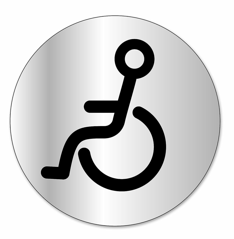 Symbol DS304 Disco indicador Aseos para discapacitados - Aluminio adhesivo - Diá metro 80 mm