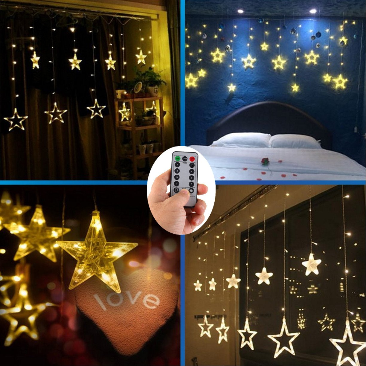 4 x AA Batteries Operated Curtain Lights with Remote,138 LED 12 Star Window Wall Icicle String Lights,8 Mode,Timer,Dimmable,Ideal for Outdoor Wedding Birthday Bar Camping Barbecue Party Decoration