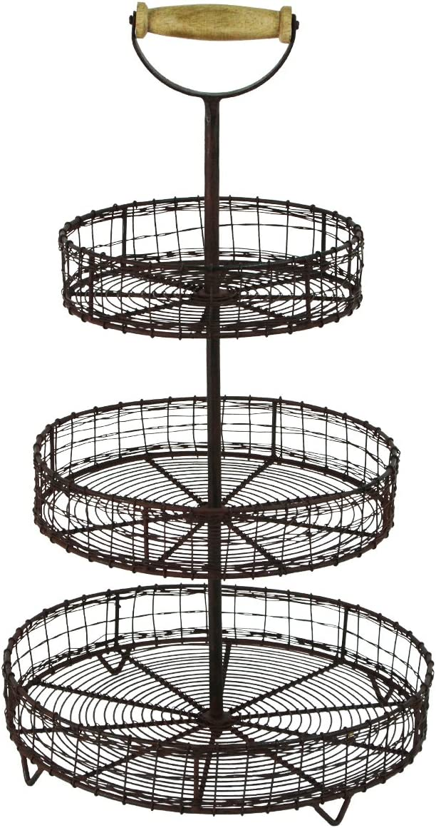 YRHD,INC Treasure Gurus Antique Style Metal Wire 3 Tier Rack Display Stand Basket Rustic Farmhouse Decor