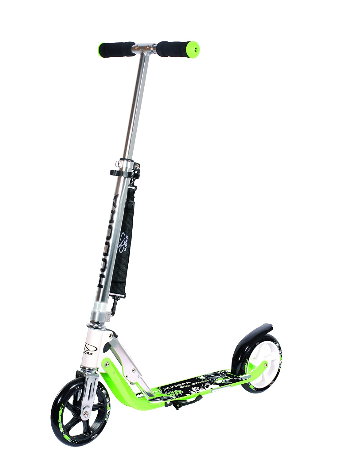 Hudora 180 (14745) Foldable Kick Scooter Height Adjustable Aluminum Scooters with Big PU Wheels