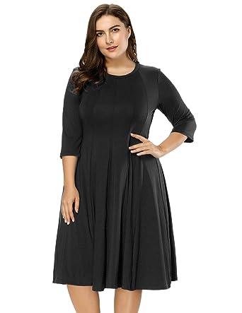 9bad09c73c7 Hanna Nikole Women s Plus Size 3 4 Sleeve Crew Neck Stretchy A-Line Dress