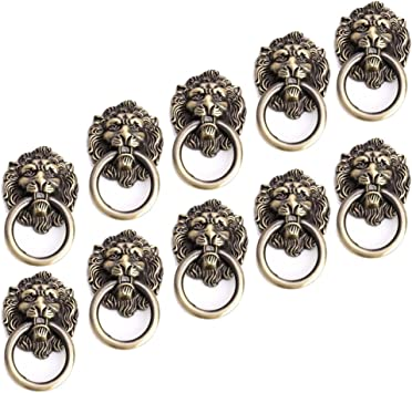 10pcs Door Knob Lion Head Shape Drawer Knobs Door Pull Handle Knob with Ring